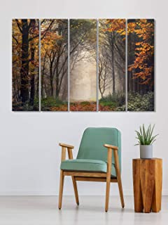 999Store painting for wall photo frames for living room Autum forest wall art panels hanging painting Set of 5 frames (130...