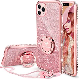 Cute iPhone 11 Pro Max Case, Glitter Bling Diamond Rhinestone Bumper with Ring Grip Kickstand Protective Thin Girly Pink iPhone 11 Pro Max Case for Women Girl [6.5 inch] 2019 - Rose Gold Pink