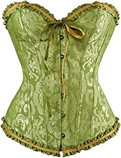 Women's Satin Lace up Overbust Corset Bustier Plus Size + G-String …