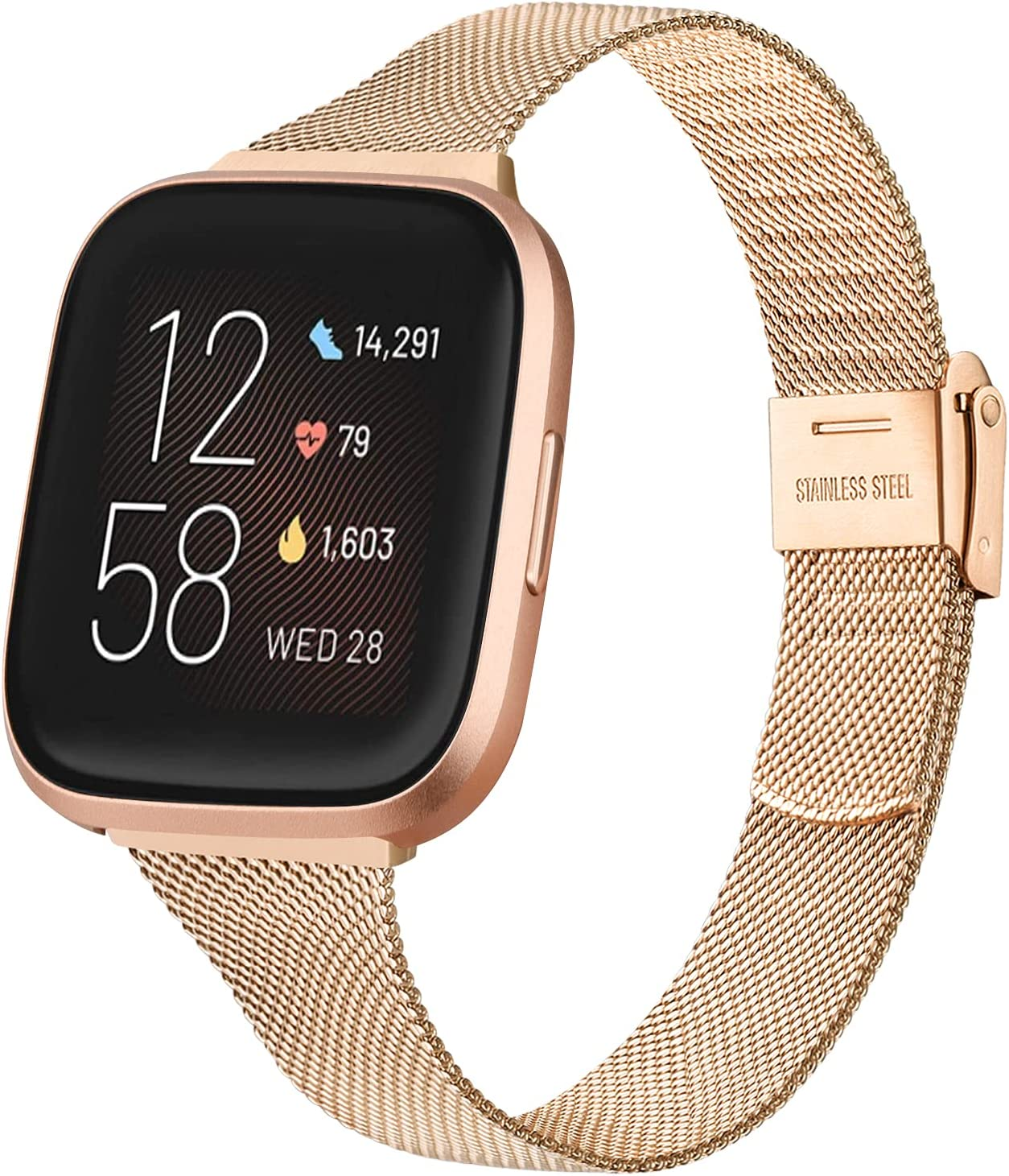 IEOVIEE Metal Slim Band Compatible with Fitbit Versa 2 / Fitbit Versa / Fitbit Versa SE / Fitbit Versa Lite Band, Stainless Steel Narrow Replacement Wristband for Woman (Rose Gold)