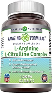 Amazing Nutrition L-Arginine/L-Citrulline Complex 1000 Mg* Combines Two Amino Acids with Potential Health Benefits * Suppo...