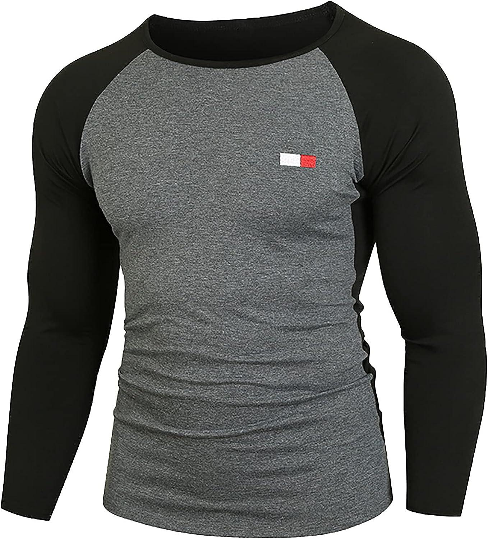 Men's Long Sleeve Henley Shirts Casual Round Neck Raglan Jersey Sportswear Lightweight Slim Baseball Tee Shirt