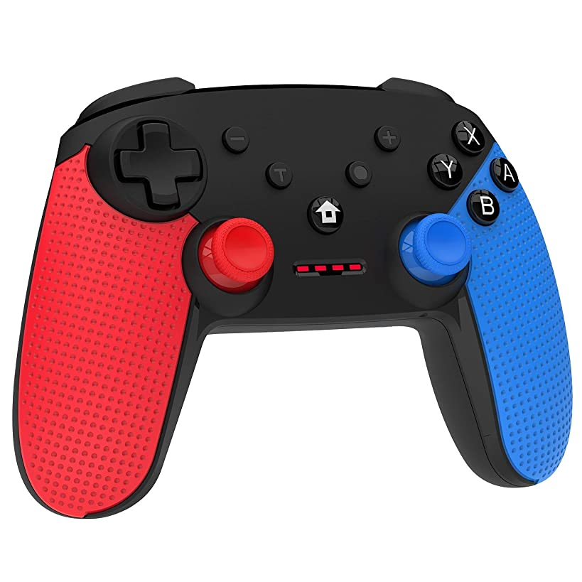 Momen Wireless Pro Controller for Nintendo Switch, Enhanced Dual Shock Gaming Gamepad Joypad with Nintendo Switch Gyro Axis- (Black-Red-Blue)