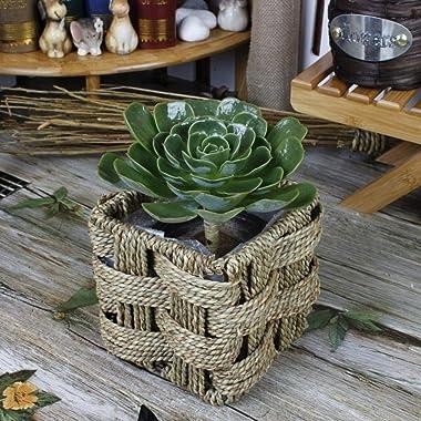 ZXY-NAN Flower Planter Garden Pot Home Office Flowers Box Decor Vase Straw Artificial Silk Wedding Flower Storage Wooden Bask