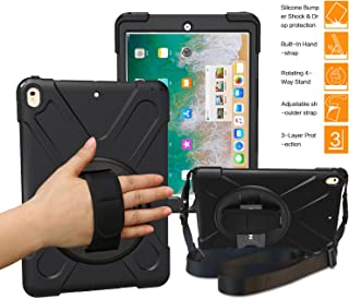 BRAECNstock iPad Pro 10.5 Case for iPad Pro Case 10.5 inch Three Layer Drop Protection Rugged Protective Heavy Duty iPad Case with Kickstand/Hand Strap/a Shoulder Strap for iPad 10.5 Pro Case(Black