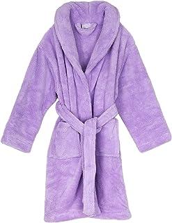 TowelSelections Girls Robe, Kids Plush Shawl Fleece Bathrobe, Made in Turkey