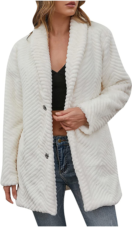 Winter Coats for Women Furry Warm Faux Jacket Long Sleeve Outerw