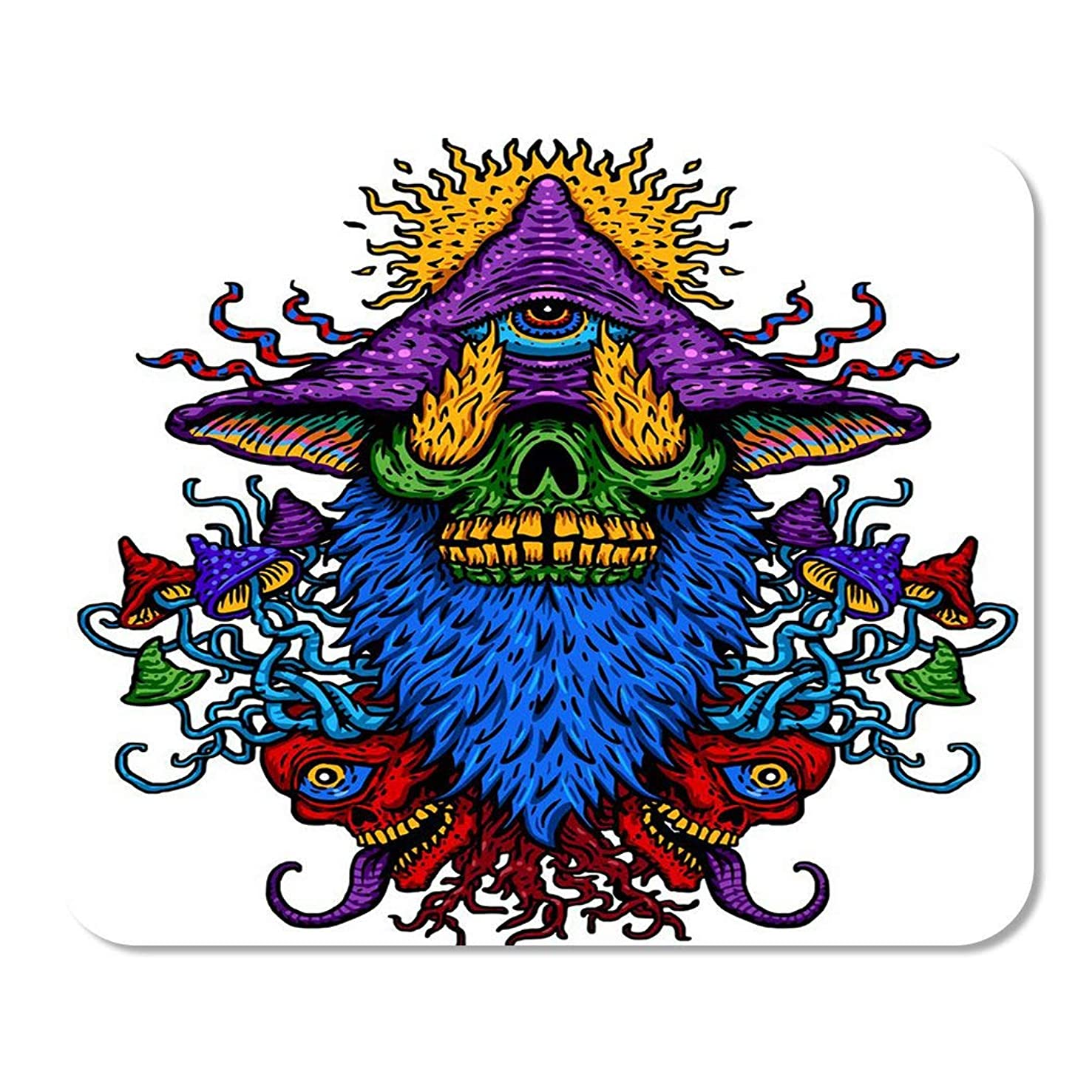 Suike Mousepad Computer Notepad Office Colorful of Psychedelic Magic Mushroom Third Eye Fire Breathing Home School Game Player Computer Worker 9.5x7.9 Inch