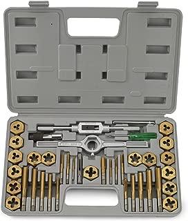 J&R Quality Tools 40-Piece Titanium Coated Tap & Hexagon Die Set - Metric
