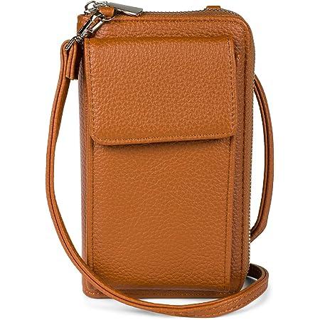 styleBREAKER Damen Mini Bag Geldbörse mit Handy Fach und RFID Schutz, Umhängetasche, Handytasche, Crossbag 02012362, Farbe:Cognac