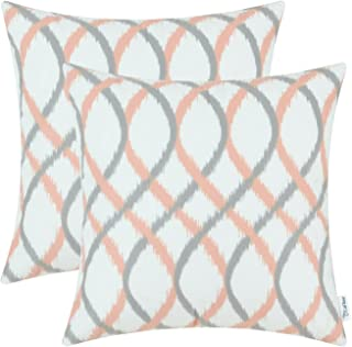 CaliTime Pack of 2 Cozy Fleece Throw Pillow Cases Covers for Couch Bed Sofa Modern Two-Tone Waves Geometric 18 X 18 Inches Gray Coral Pink