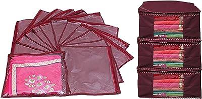 Kuber Industries™ Saree Cover Combo 3 Pcs Set and Single Packing Saree Cover 12 Pcs Set (Maroon) Code-SCC20