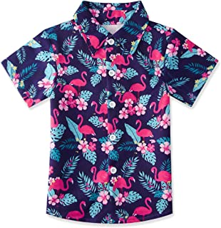 Boys Button Down Shirt Tropical Print Hawaiian Aloha Holiday Short Sleeve Dress Shirts Tops (2-8T)