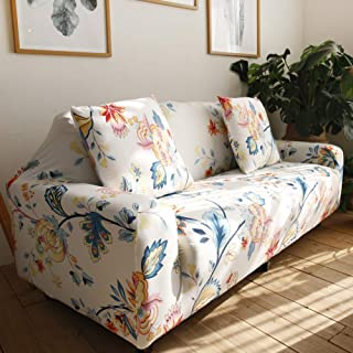 nordmiex Stretch Sofa Slipcovers Fitted Furniture Protector Printed Sofa Cover Stylish Fabric Couch Cover with 2 Pillowcases for 2 Cushion Couch(Loveseat-2 Seater,Floral)