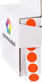 ChromaLabel 1/2 Inch Round Color Coding Labels   1,000/Box (Fluorescent Red-Orange)