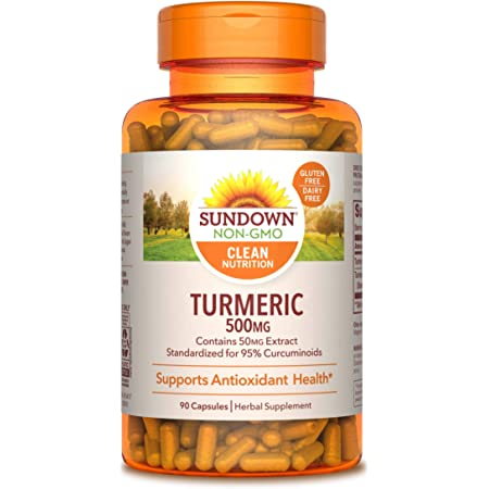 Turmeric Supplements by Sundown, for Antioxidant Health, Standardized Turmeric Extract, Non-GMOˆ, Free of Gluten, Dairy, Artificial Flavors, 500 mg, 90 Capsules