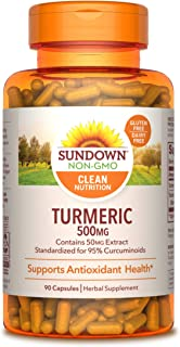 Turmeric Supplements by Sundown, for Antioxidant Health, Standardized Turmeric Extract, Non-GMOˆ, Free of Gluten, Dairy, A...