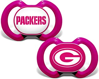 Baby Fanatic NFL Legacy Infant Pacifiers, Green Bay Packers Pink, 2 Pack