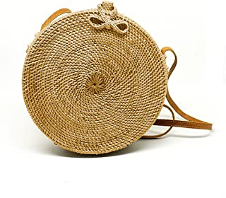 JavaCrafts Handwoven Rattan Bag Round Circle Tropical Beach Style Crossbody Woven Tote Basket Bali Bag
