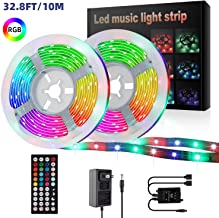 LED Strip Lights,YLCVBUD 32.8ft/10M 3528 SMD RGB Rope Lights Music Sync Color Changing, Rope Light 600 SMD 3528 LED, IR Remote Controller Flexible Strip for Home Party Bedroom DIY Party Indoor Outdoor