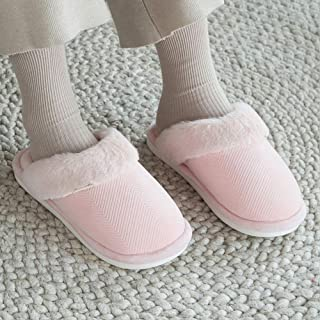 Winter Home Warm Non-Slip Plush Cotton Slippers-Comfortable Indoor Thick Bottom TPR Couple Men's Home,Pink,38