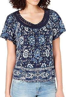 Lucky Brand womens BLUE CROCHET SHORT SLEEVE TEE Shirt