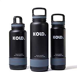 KOLD. Water Bottle 18oz - 40oz Coldest Vacuum Insulated Stainless Steel Sports Bottle, Wide Mouth, with Caribiner Handle Lid, and 5 Different Colored Silicone Sleeves