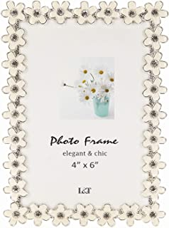 L&T Flower Picture Frame Silver Metal with White Enamel and Crystals 4 x 6 Inch