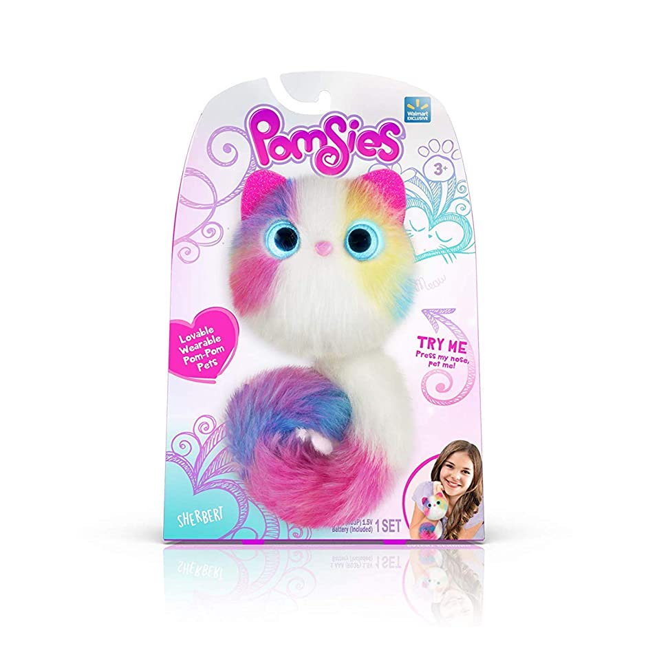 Pomsies Sherbert Plush Interactive Toys, White/Pink/Blue/Purple/Yellow One Size Bonus: Glam Sparkle Mirror Compact