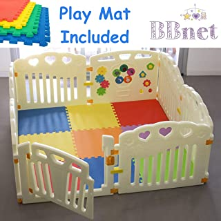 BBNet Baby Playpen with Play MAT Included | Playard 8 Pieces | Children Activity Center | Pack and N Play Mattress | Fitted EVA Floor Mats Panel with Gate Door for Babies Extra Wide | Nest Child