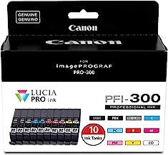 Canon PFI-300 Lucia PRO Ink, 10 Ink Tanks, Compatible to imagePROGRAF PRO-300 Printer, Multi, Standard (4192C007)