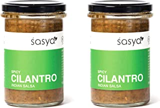 Sasya Spicy Cilantro Indian Salsa - Vegan, Gluten Free Sauce - 10.6 Fl Oz, (Pack of 2)