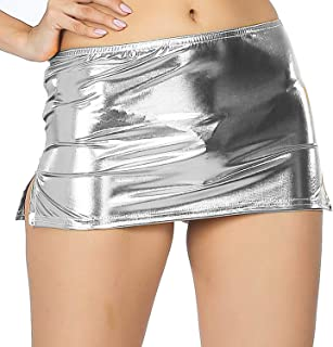 Cloe Valentine Women's Shiny Liquid Metallic Wet Look Bodycon Mirco Mini Fish Scale Pencil Skirt - Silver