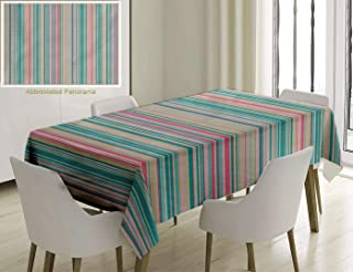 Unique Custom Cotton And Linen Blend Tablecloth Striped Decor Parallel Bands Down Children Minimalist Thin Streaks Strips Artsy Print Light Blue PinkTablecovers For Rectangle Tables, 70 x 52 Inches
