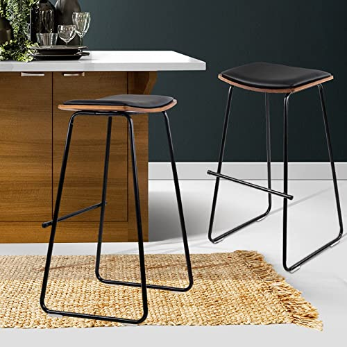 Artiss 2 Pcs Bar Stools 76cm Height Leather Foam Counter Stools, Black Metal Bar Chairs for Home Kitchen Dining Room ...