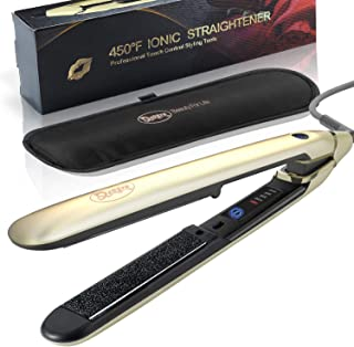 Ceramic Tourmaline Flat Iron Nano-Silver Hair Straightener Touch Screen 300°F to 450°F 1 inch 3D Floating Plate for All Hair Type. Dual Voltage Curling Iron, Heat-resistant Pouch