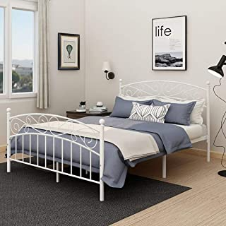 AUFANK Metal Beds Victorian Style Platform Bed Frame with Headboard Footboard Heavy Duty Slat No Box Spring Full Size White