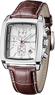 Men's Business Analog Fashion Casual Chronograph Rectangular Luminous Quartz Wrist Watch with Leather Strap for Work & Sports