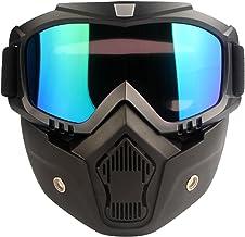 Trendbox Motorcycle Goggles Mask Detachable, Road Riding Anti-UV Motorbike Glasses (Rainbow Lens)