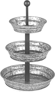 3 Tier Serving Tray - Galvanized, Rustic Metal Stand. Dessert, Cupcake, Fruit & Party Three Tiered Platter. Country Farmhouse Vintage Decor for the Kitchen, Home, Farm & Outdoor by Hallops