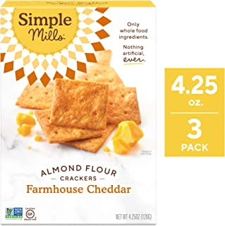 Simple Mills Almond Flour Crackers, Farmhouse Cheddar, 4.25 Ounce (Pack of 3) (PACKAGING MAY VARY)