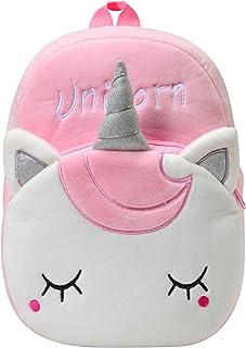 Mochila para Niña, Kasgo Pequeño Mochilas Infantil Linda Mochilas Guardería Bebe Animales 3D Suave Mochila de Felpa (Unicornio Rosa)