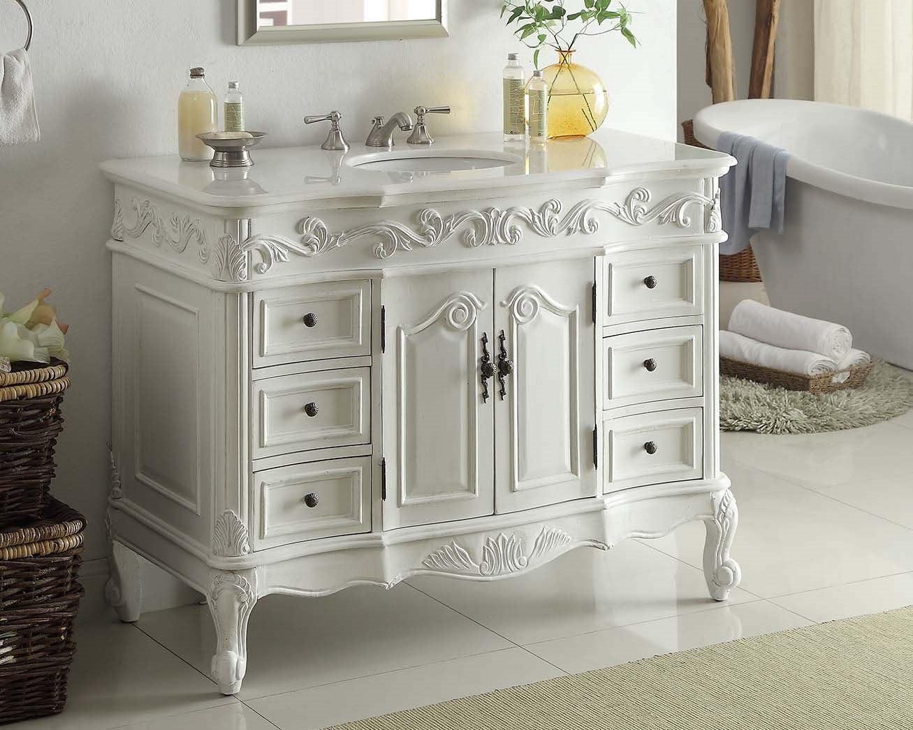"""20"""" Antique White Beckham Bathroom Sink Vanity Cabinet & Mirror  SW 20W AW 20"""
