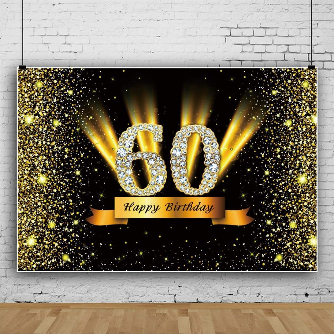 10x6.5ft Vinyl Photography Backdrop Happy 50th Birthday Party Decoration Background Golden Words Eagle Wings on Black Background Photo Studio Prop
