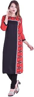 Chichi Indian Women's Plain with Side Printed Rayon Kurti Top