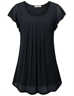 Women's Front Pleat Ruffle Sleeve Blouses Top Double Layers Tunics Shirts