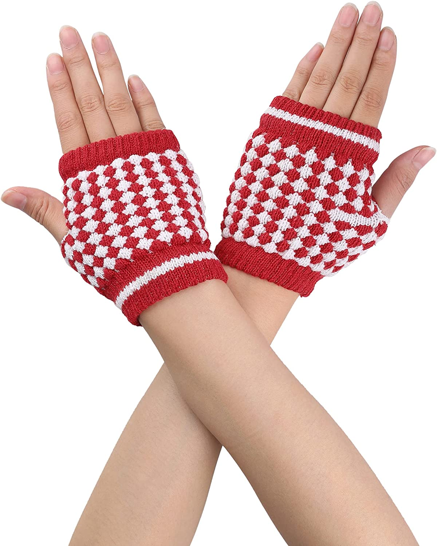 Allegra K Women Winter Palm Warmer Rhombic Ribbed Thumbhole Knitted Fingerless Gloves