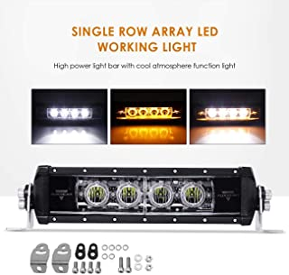 "Auxbeam 11"" Single Row LED Light Bar Amber Flood LED Driving Fog Lights for Off Road Jeep Polaris Razor Trucks SUV ATV UTV"