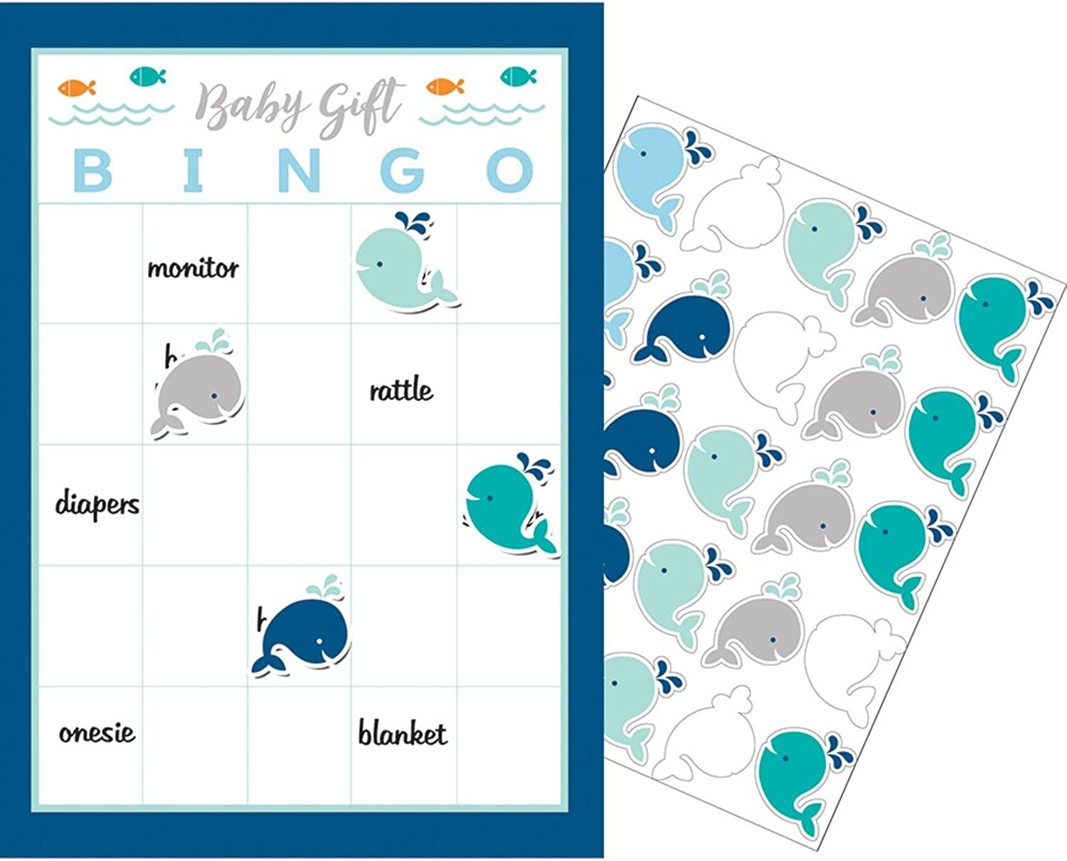 Party Central Club Pack of 60 bluee and White Little Spout Baby Gift Boy Game Bingo 10