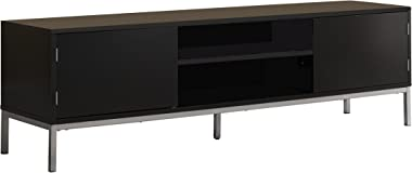 """Kings Brand Furniture – 60"""" Wood TV Stand Entertainment Center Storage Console, Black Silver"""